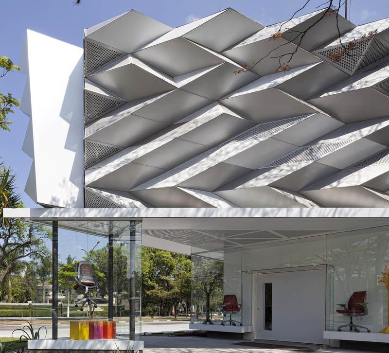 复合材料板材_展厅外立面装饰穿孔铝板案例 - 上海迈饰新材料科技有限公司