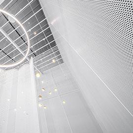 穿孔铝板褶皱帷幕-上海由心咖啡门面
