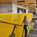 黄色烤漆穿孔铝板防护栏_科廷大学米德兰新校区